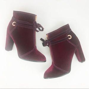 Shoedazzel | Pink Purple Velvet Lexi Booties 11